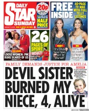 Daily Star Sunday () Newspaper Front Page for 13 January 2019