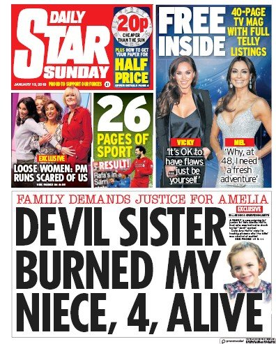 Daily Star Sunday Newspaper Front Page (UK) for 13 January 2019