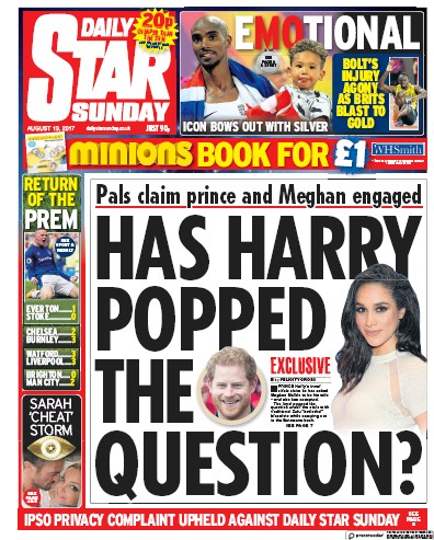 Daily Star Sunday Newspaper Front Page (UK) for 13 August 2017