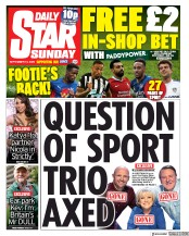 Daily Star Sunday front page for 13 September 2020
