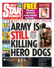 Daily Star Sunday front page for 14 February 2021