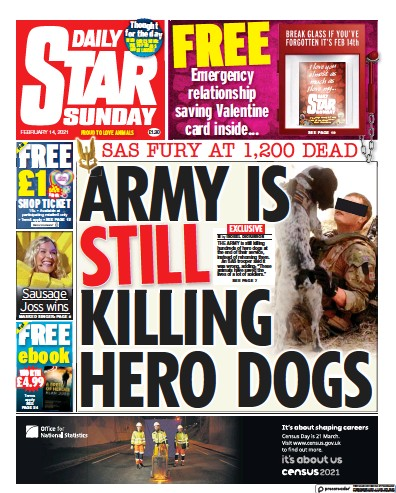Daily Star Sunday Newspaper Front Page (UK) for 14 February 2021
