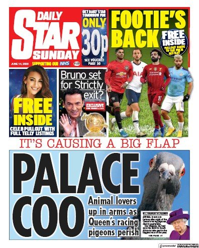 Daily Star Sunday Newspaper Front Page (UK) for 14 June 2020