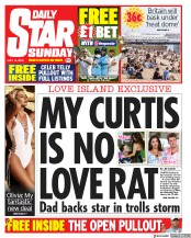Daily Star Sunday (UK) Newspaper Front Page for 14 July 2019