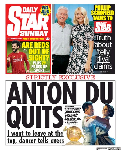 Daily Star Sunday Newspaper Front Page (UK) for 15 December 2019