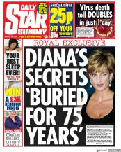 Daily Star Sunday front page for 15 March 2020