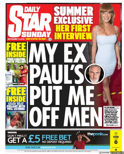 Daily Star Sunday Newspaper Front Page (UK) for 15 September 2019
