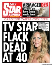 Daily Star Sunday front page for 16 February 2020