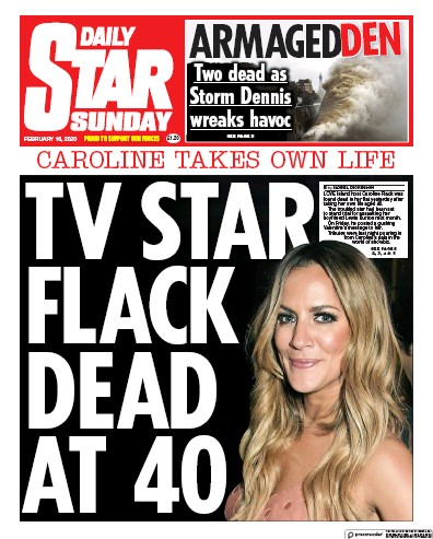 Daily Star Sunday Newspaper Front Page (UK) for 16 February 2020