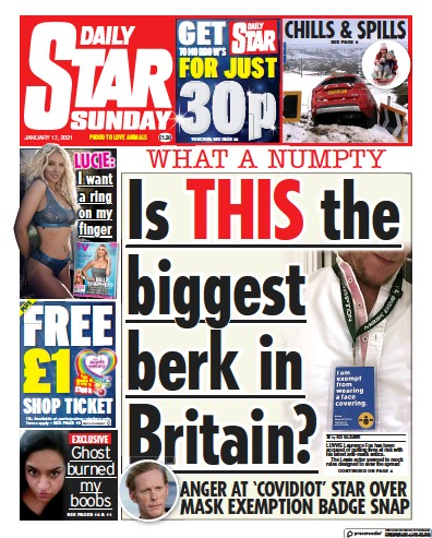 Daily Star Sunday Newspaper Front Page (UK) for 17 January 2021