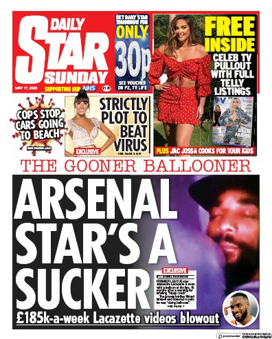 Daily Star Sunday Newspaper Front Page (UK) for 17 May 2020