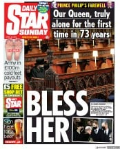 Daily Star Sunday front page for 18 April 2021