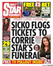 Daily Star Sunday (UK) Newspaper Front Page for 18 August 2019