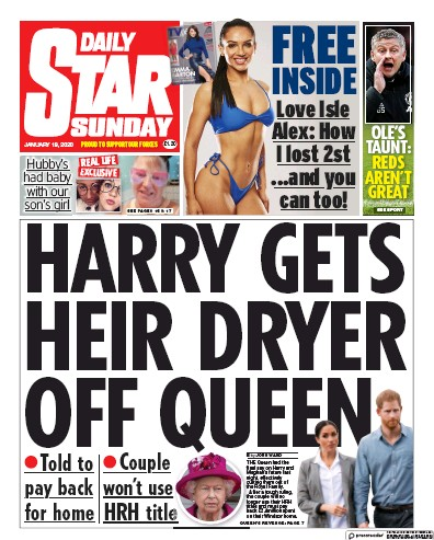 Daily Star Sunday Newspaper Front Page (UK) for 19 January 2020