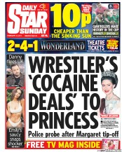 Daily Star Sunday (UK) Newspaper Front Page for 19 February 2017