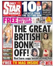 Daily Star Sunday (UK) Newspaper Front Page for 19 March 2017