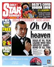 Daily Star Sunday front page for 1 November 2020