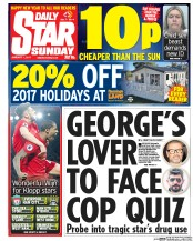 Daily Star Sunday (UK) Newspaper Front Page for 1 January 2017