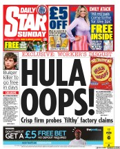 Daily Star Sunday (UK) Newspaper Front Page for 1 September 2019