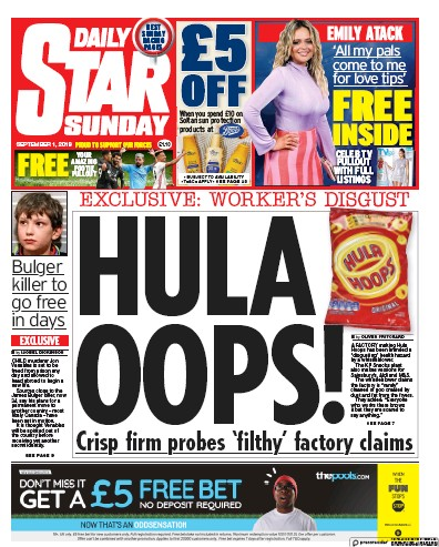 Daily Star Sunday Newspaper Front Page (UK) for 1 September 2019