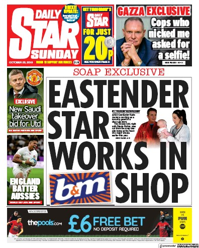 Daily Star Sunday Newspaper Front Page (UK) for 20 October 2019