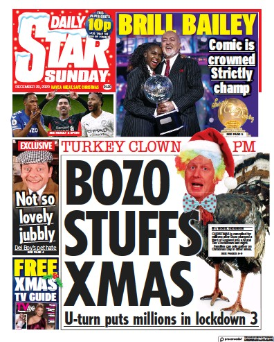 Daily Star Sunday Newspaper Front Page (UK) for 20 December 2020