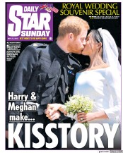Daily Star Sunday (UK) Newspaper Front Page for 20 May 2018