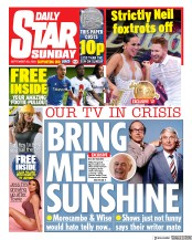 Daily Star Sunday front page for 20 September 2020