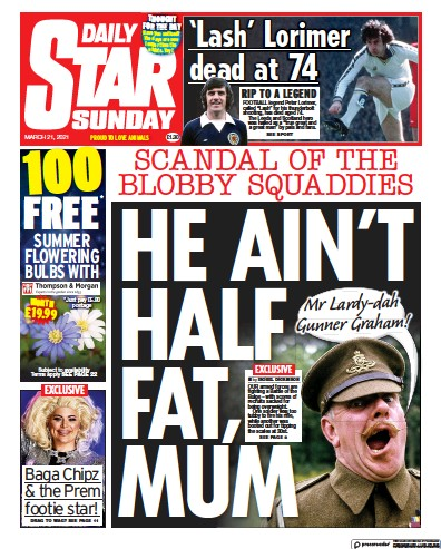 Daily Star Sunday Newspaper Front Page (UK) for 21 March 2021