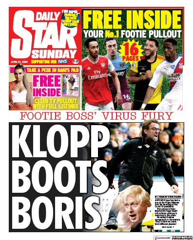 Daily Star Sunday Newspaper Front Page (UK) for 21 June 2020