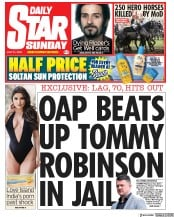 Daily Star Sunday (UK) Newspaper Front Page for 21 July 2019