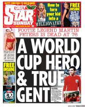Daily Star Sunday (UK) Newspaper Front Page for 22 December 2019