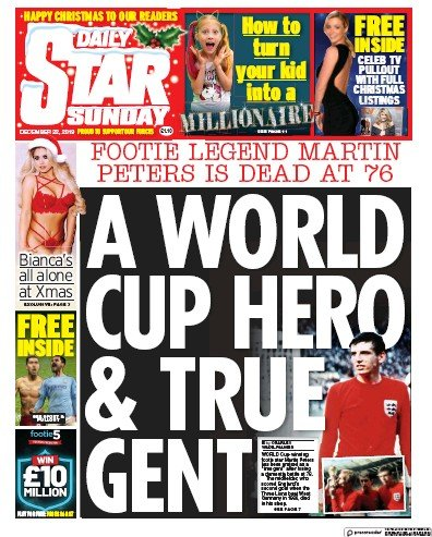 Daily Star Sunday Newspaper Front Page (UK) for 22 December 2019