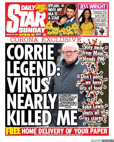 Daily Star Sunday Newspaper Front Page (UK) for 22 March 2020