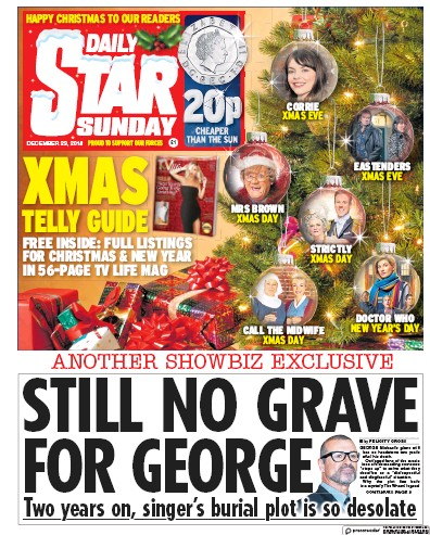 Daily Star Sunday Newspaper Front Page (UK) for 23 December 2018