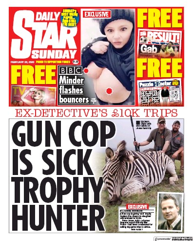 Daily Star Sunday Newspaper Front Page (UK) for 23 February 2020