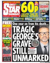 Daily Star Sunday (UK) Newspaper Front Page for 24 December 2017