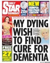Daily Star Sunday () Newspaper Front Page for 24 February 2019