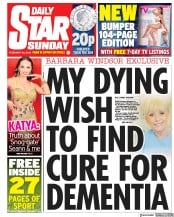 Daily Star Sunday (UK) Newspaper Front Page for 24 February 2019