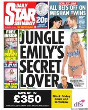 Daily Star Sunday (UK) Newspaper Front Page for 25 November 2018