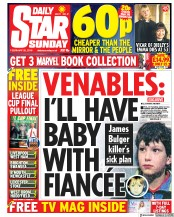 Daily Star Sunday (UK) Newspaper Front Page for 25 February 2018