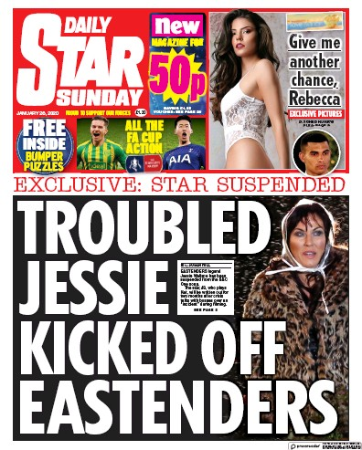 Daily Star Sunday Newspaper Front Page (UK) for 26 January 2020