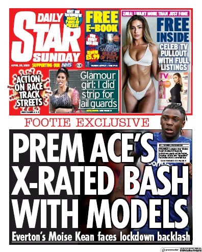 Daily Star Sunday Newspaper Front Page (UK) for 26 April 2020