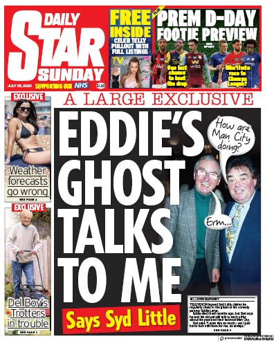 Daily Star Sunday Newspaper Front Page (UK) for 26 July 2020