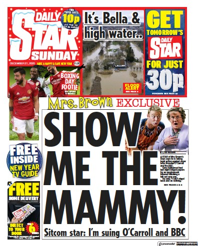 Daily Star Sunday Newspaper Front Page (UK) for 27 December 2020