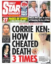 Daily Star Sunday (UK) Newspaper Front Page for 27 January 2019
