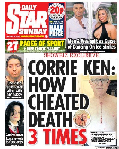 Daily Star Sunday Newspaper Front Page (UK) for 27 January 2019