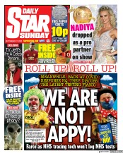 Daily Star Sunday front page for 27 September 2020