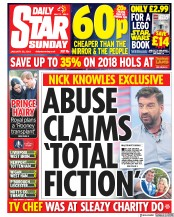 Daily Star Sunday (UK) Newspaper Front Page for 28 January 2018