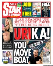 Daily Star Sunday (UK) Newspaper Front Page for 28 March 2021